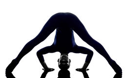 Woman exercising Prasarita Padottanasana Wide Legged Forward Ben Royalty Free Stock Photo