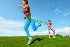 Woman exercising resistance rubber band Royalty Free Stock Images