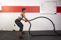 Woman Exercising With Ropes Royalty Free Stock Photos