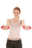 Woman exercising with small dumbbells Stock Photos