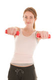 Woman exercising with small dumbbells Royalty Free Stock Photo