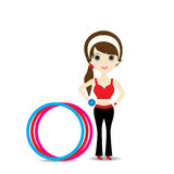 Woman exercising in sport outfit holding dumbbell with hulahoop Stock Photos