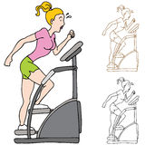 Woman Exercising on Stairclimber Machine Stock Images