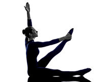 woman exercising stretching yoga silhouette stock images