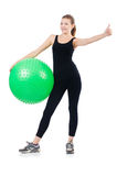 Woman exercising with swiss ball Stock Photos