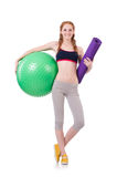 Woman exercising with swiss ball Stock Photo