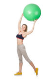 Woman exercising with swiss ball Stock Image