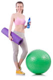 Woman exercising with swiss ball Royalty Free Stock Image