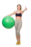 Woman exercising with swiss ball Royalty Free Stock Photo