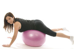 woman exercising training ball Royalty Free Stock Photos