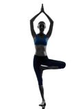 Woman exercising tree pose yoga Royalty Free Stock Photos