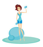 woman exercising with two dumbbell weights Royalty Free Stock Photos