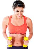Woman exercising with weights Stock Photos
