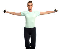 Woman exercising weights training Worrkout Posture Stock Images