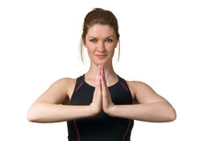 Woman Exercising Wellbeing w/ Yoga Fitness Royalty Free Stock Image