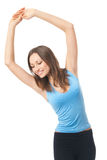 Woman exercising, on white Stock Photography