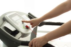 Woman exercising  fitness gym. Woman exercising and working out in fitness gym Stock Photos