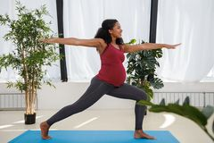 Woman exercising yoga at home stock photography