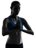 Woman exercising yoga portrait hands joined Royalty Free Stock Photography