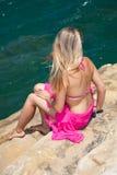 Woman on exotic beach Stock Photos