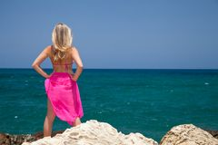Woman on exotic beach Royalty Free Stock Photography