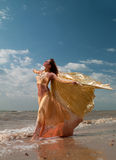 Woman in exotic dress standing on the beach Stock Photos