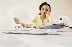 Woman With Expense Receipt Stock Photography