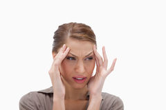 Woman experiencing a headache Stock Photos