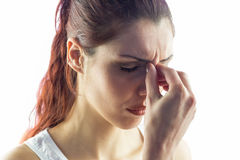Woman experiencing headache Stock Image