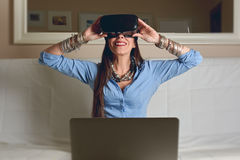Woman experiencing virtual reality, formal clothes, Stock Image