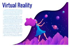 Woman experiencing virtual reality wearing vr goggles vector illustration. Floating girl in space. Woman experiencing virtual reality wearing vr goggles vector royalty free stock photography