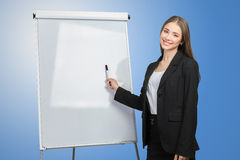 Woman explain at the whiteboard. Business woman explain at the whiteboard royalty free stock photos