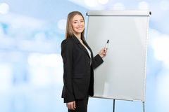 Woman explain at the whiteboard Royalty Free Stock Photos