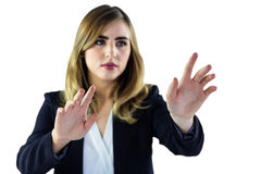 Woman explaining with gestures Stock Image