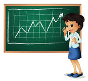 A woman explaining the graph Stock Images