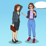 Woman Explaining Something to Thoughtful Businesswoman. Pop Art illustration Stock Photos