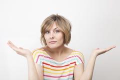 Woman explaining things Stock Photo