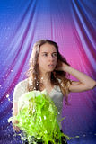 Woman exploding green water royalty free stock images