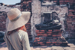 Woman exploring ancient ruins Stock Images