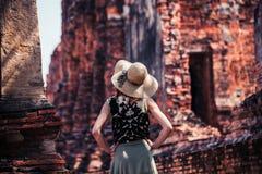 Woman exploring ancient ruins Royalty Free Stock Photos