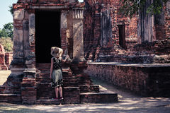 Woman exploring ancient ruins Royalty Free Stock Photography
