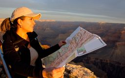 Woman exploring the Grand Canyon Stock Photography
