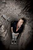 Woman Exploring Kaymakli Underground City Royalty Free Stock Photos