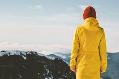 Woman exploring mountains adventure travel lifestyle stock photos