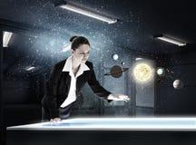 Woman exploring space Stock Photos