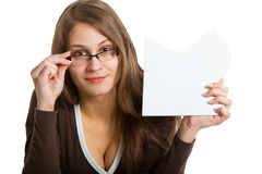 Woman exposing puzzle card Stock Images