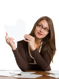 Woman exposing puzzle card Stock Photography