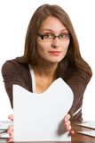 Woman exposing puzzle cards Stock Image