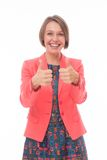 Woman Express Positivity On White Royalty Free Stock Images