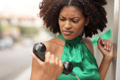 Woman expressing anger Stock Images